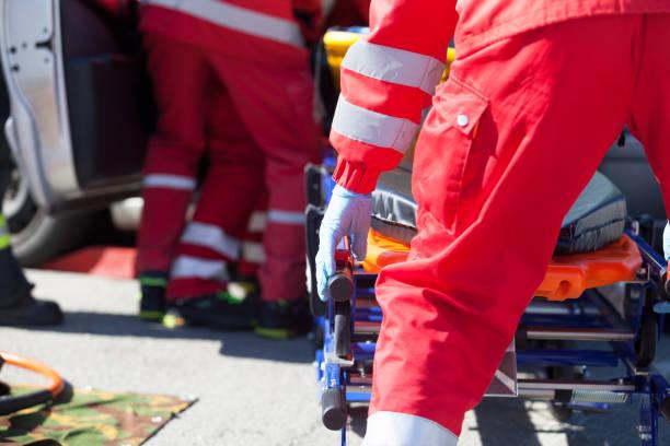 Paramedics in a rescue operation after a car crash